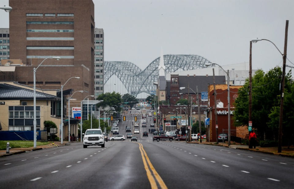 <strong>The then-closed Hernando DeSoto Bridge (shown connected  May 17)&nbsp;was wholly  reopened connected  Monday, Aug. 2.</strong> (Mark Weber/Daily Memphian)