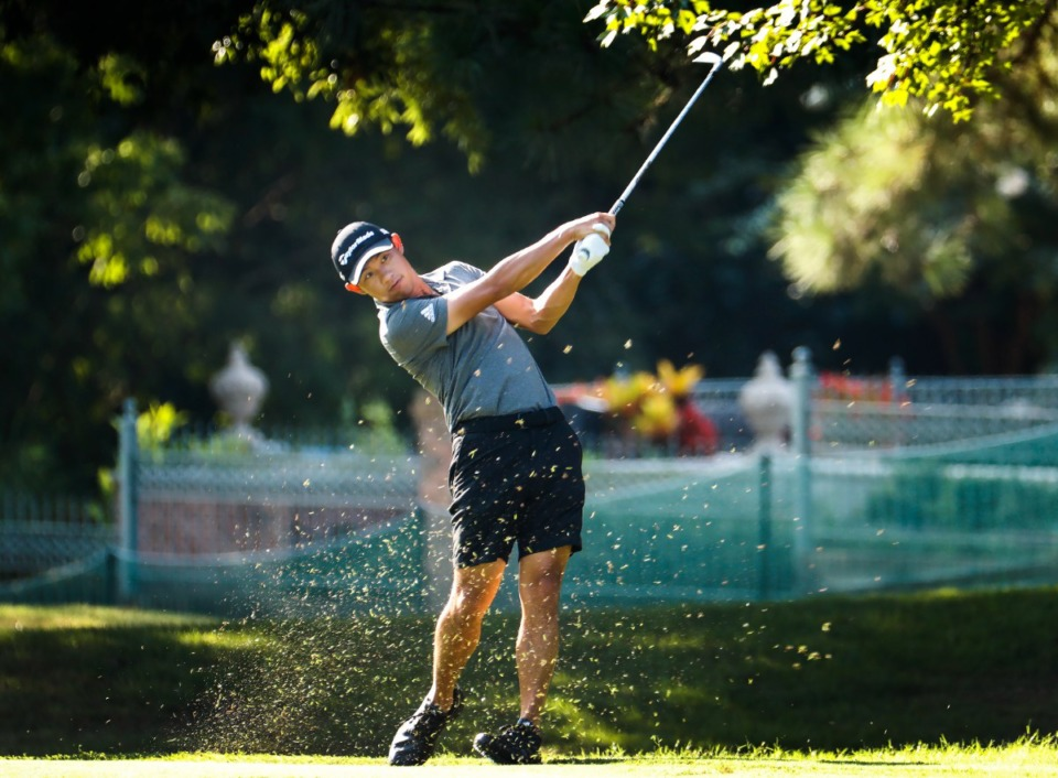 <strong>PGA golfer Collin Morikawa hits his fairway shot during the WGC - FedEx St. Jude Invitational pro-am on Wednesday, August 5, 2021 at TPC Southwind.</strong> (Mark Weber/The Daily Memphian)