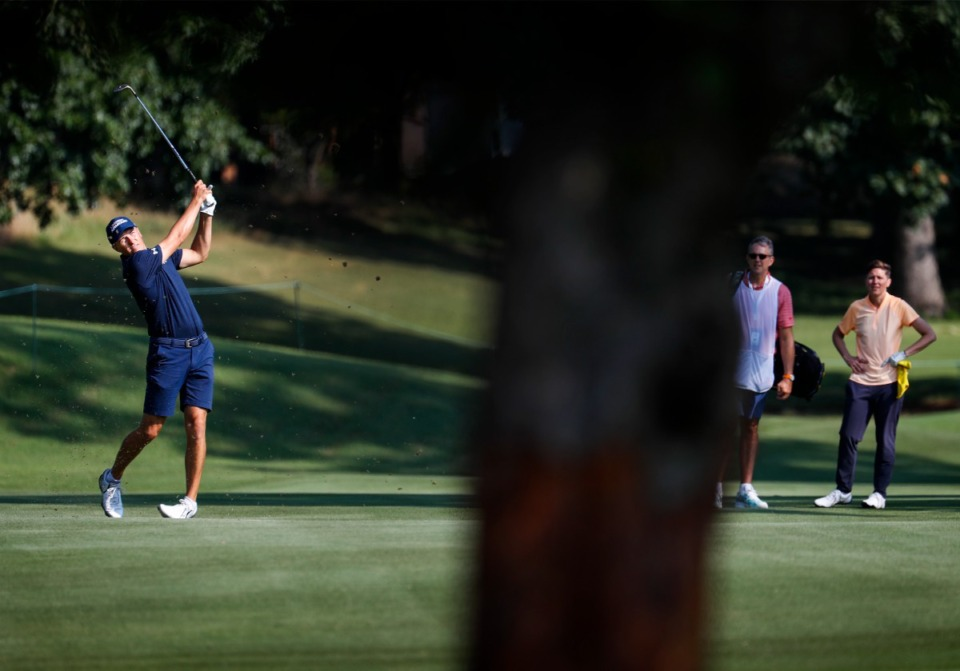<strong>PGA golfer Jordan Spieth (left) hits his fairway changeable  portion    taking portion  successful  the WGC - FedEx St. Jude Invitational pro-am connected  Wednesday, August 4, 2021 astatine  TPC Southwind.</strong> (Mark Weber/The Daily Memphian)