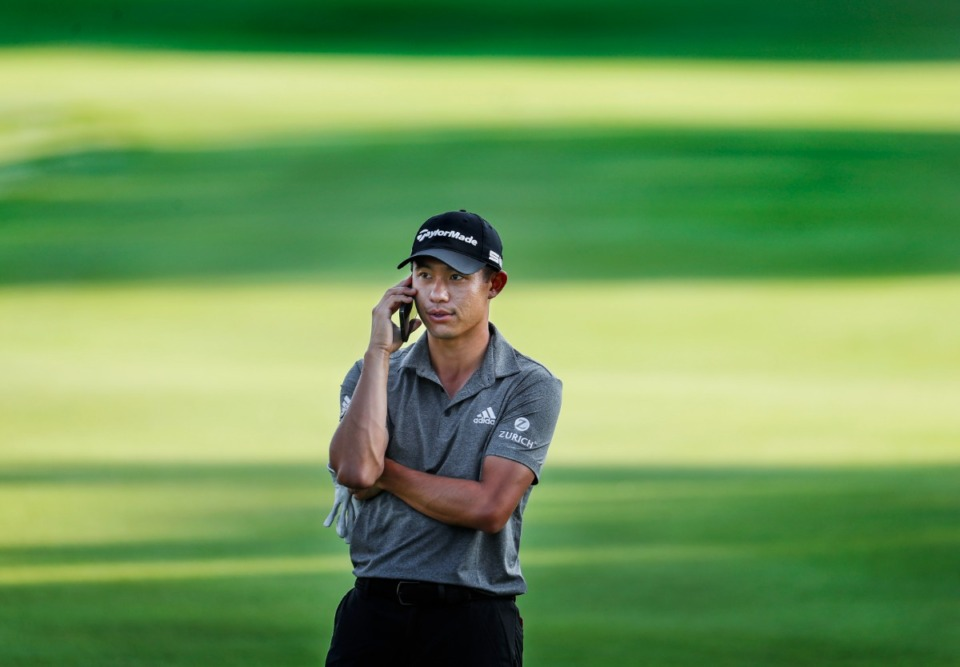 <strong>PGA golfer Collin Morikawa takes a telephone  telephone  portion    playing successful  the WGC-FedEx St. Jude Invitational pro-am connected  Wednesday, August 5, 2021 astatine  TPC Southwind.</strong> (Mark Weber/The Daily Memphian)