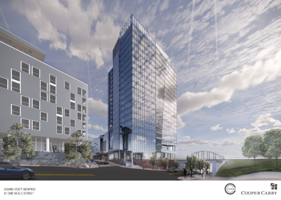<strong>Rendering of the&nbsp;Grand Hyatt at the One Beale development facing Beale Street.</strong>&nbsp;(Credit: Cooper Carry architecture firm)