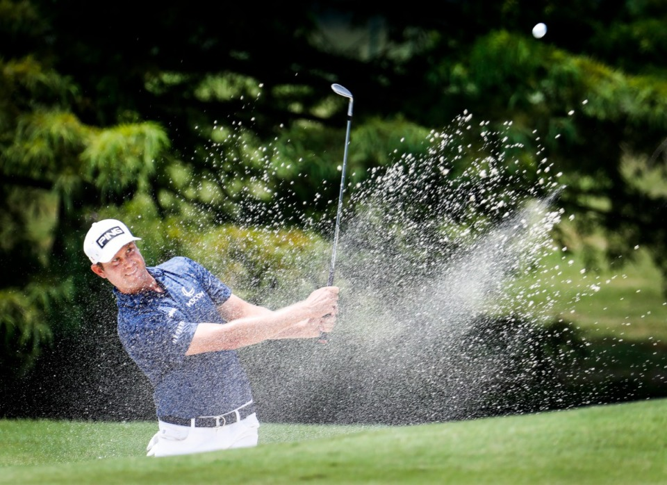 <strong>PGA golfer Harris English chips out of the 10th hole bunker during the first round of the WGC-FedEx St. Jude Invitational on Thursday, Aug. 5, 2021, at TPC Southwind.</strong> (Mark Weber/The Daily Memphian)