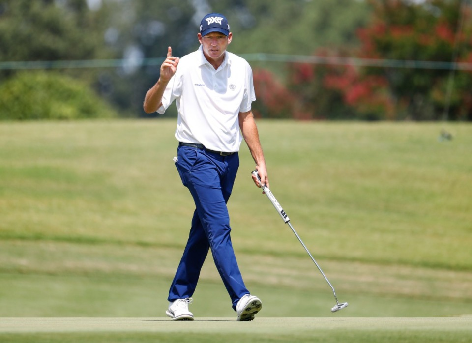 <strong>PGA golfer Jim Herman reacts to his made putt during the first round of the WGC-FedEx St. Jude Invitational on Thursday, Aug. 5, 2021, at TPC Southwind.</strong> (Mark Weber/The Daily Memphian)