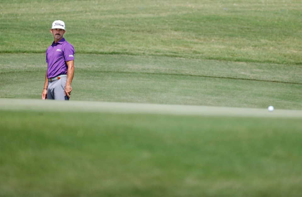 <strong>PGA golfer Wade Ormsby watches his long putt during the first round of the WGC-FedEx St. Jude Invitational on Thursday, Aug. 5, 2021, at TPC Southwind.</strong> (Mark Weber/The Daily Memphian)