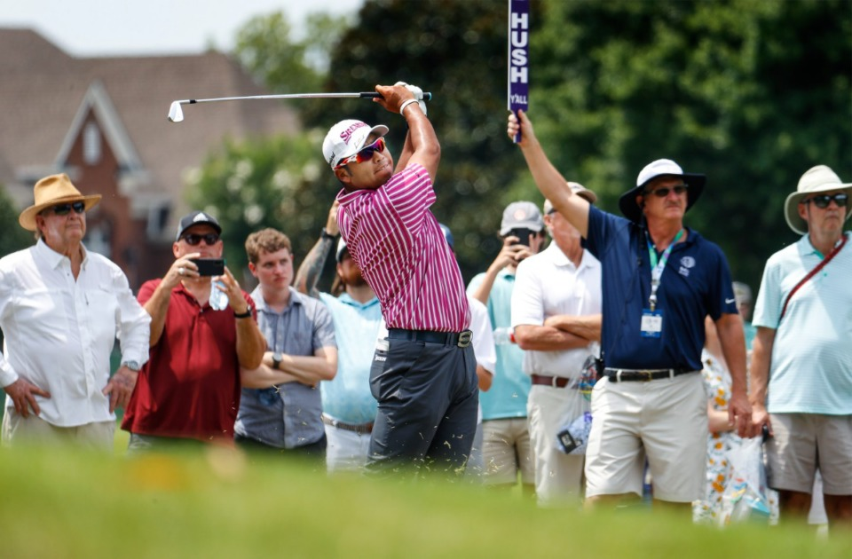 <strong>PGA golfer Hideki Matsuyama watches his 10th hole fairway shot from the rough&nbsp;during the first round of the WGC-FedEx St. Jude Invitational on Thursday, Aug. 5, 2021, at TPC Southwind.</strong> (Mark Weber/The Daily Memphian)