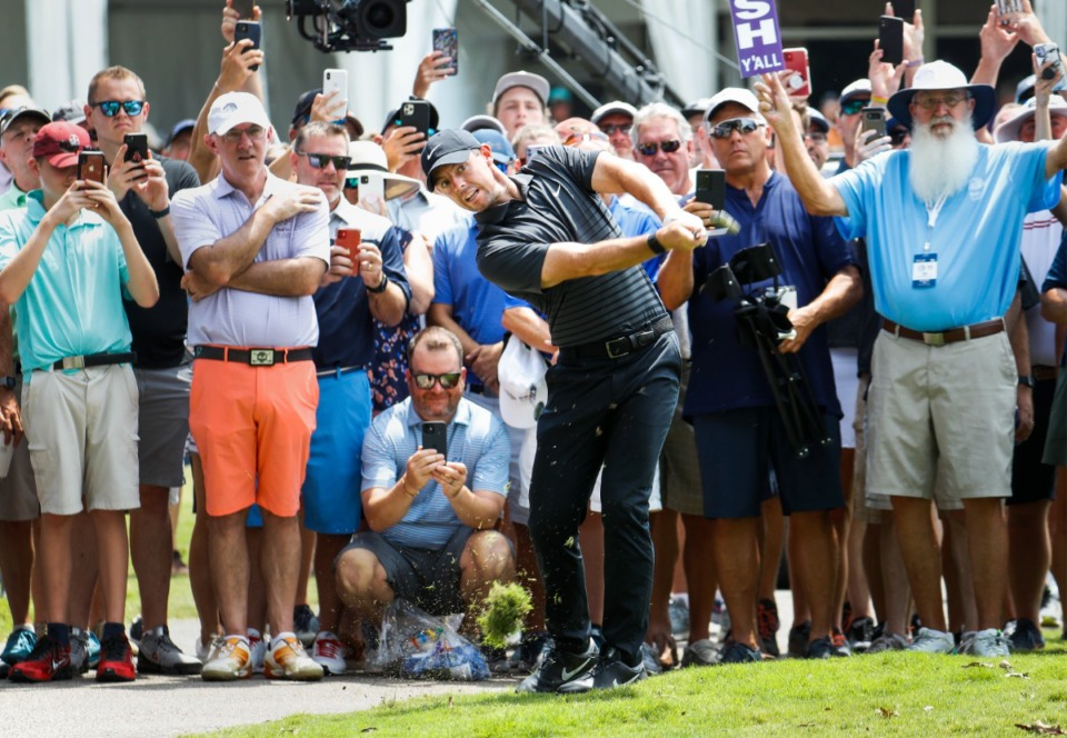 <strong>PGA golfer Rory McIlroy hits from the rough on the 18th hole of the first round of the WGC-FedEx St. Jude Invitational on Thursday, Aug. 5, 2021, at TPC Southwind.</strong> (Mark Weber/The Daily Memphian)