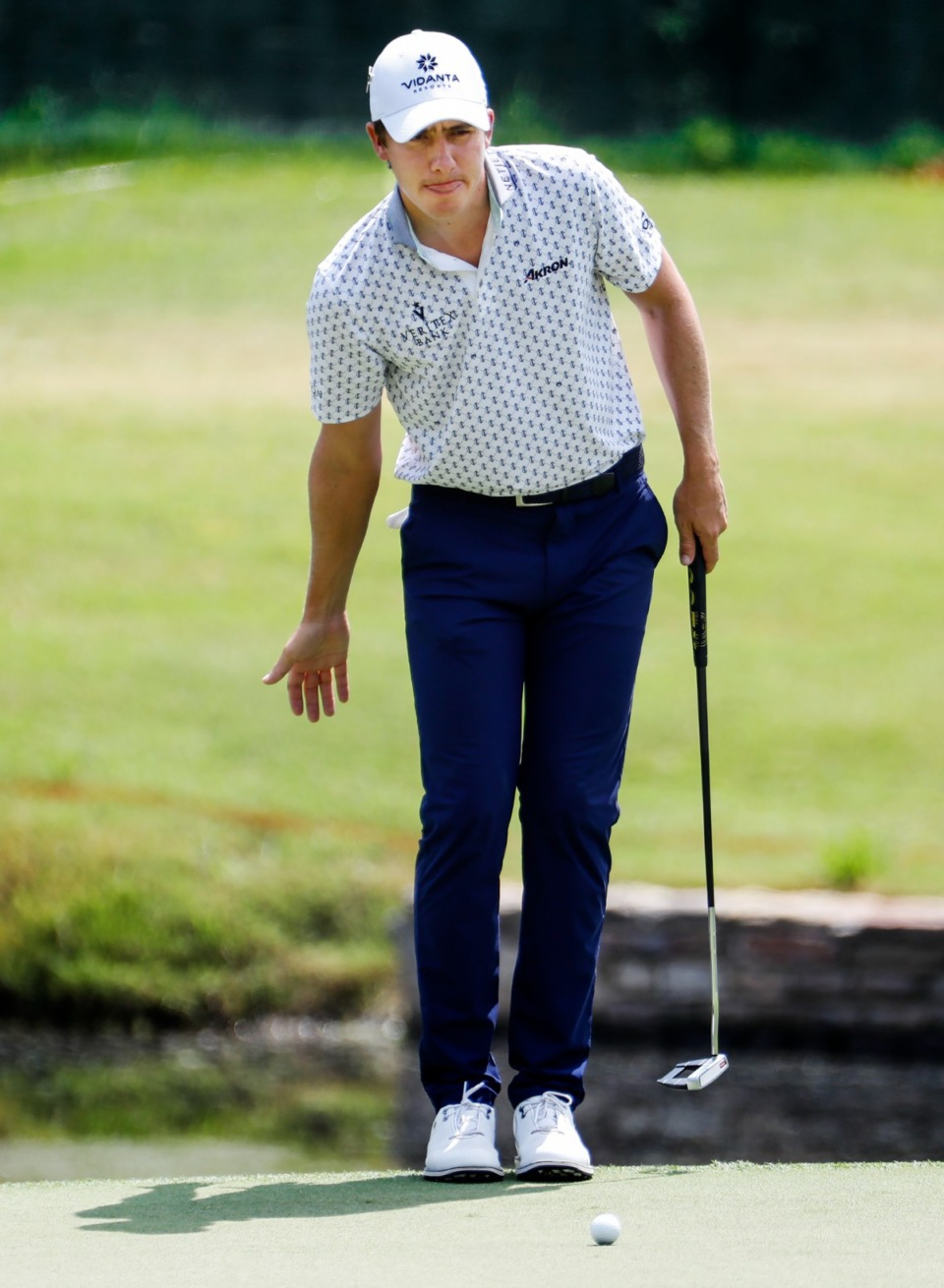 <strong>PGA golfer Carlos Ortiz lines up his putt on the 18th hole green&nbsp;during the first round of the WGC-FedEx St. Jude Invitational on Thursday, Aug. 5, 2021, at TPC Southwind.</strong> (Mark Weber/The Daily Memphian)