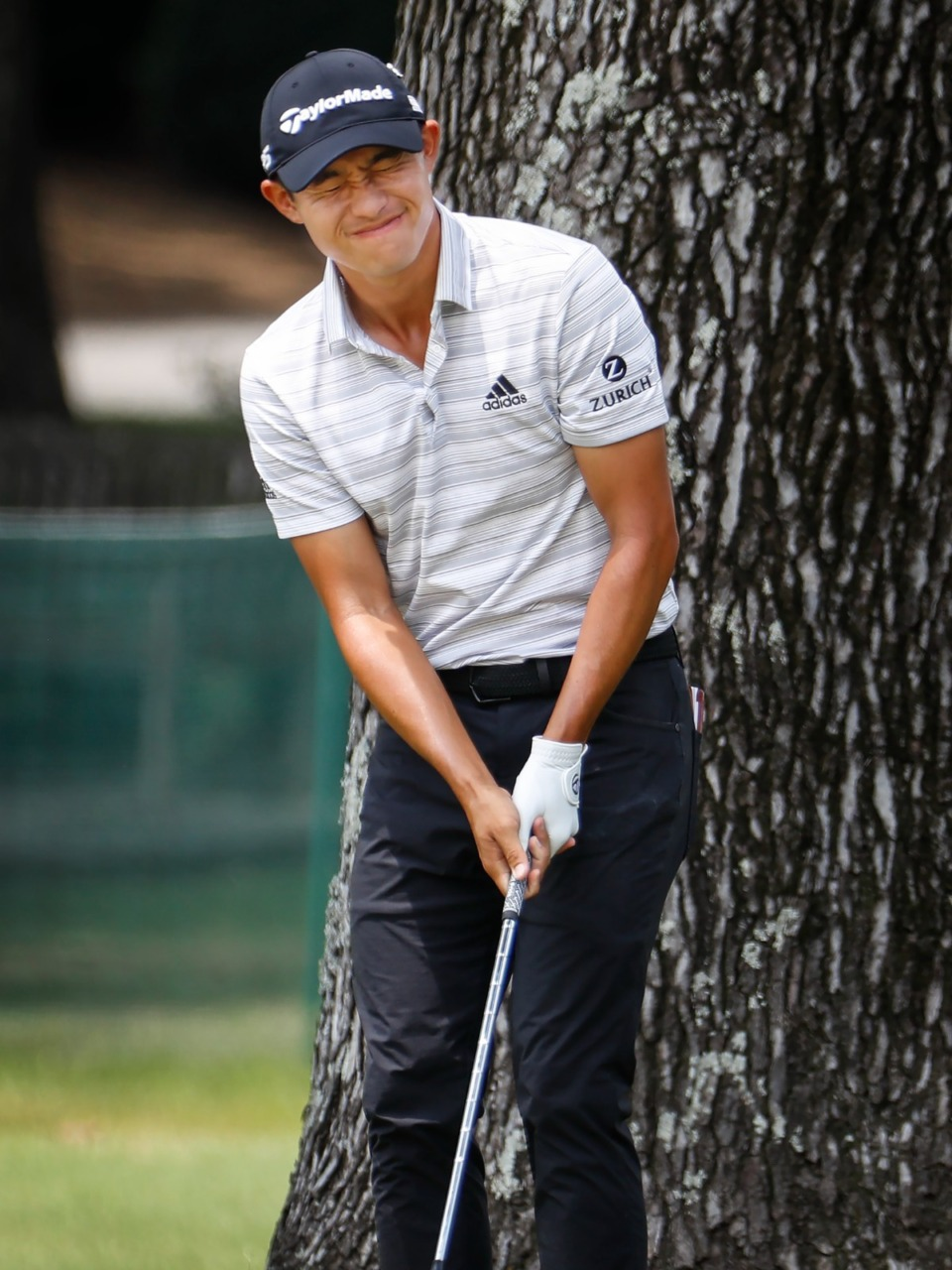 <strong>PGA golfer Collin Morikawa reacts after hitting his chip shot onto the 10th hole green&nbsp;during the first round of the WGC-FedEx St. Jude Invitational on Thursday, Aug. 5, 2021, at TPC Southwind.</strong> (Mark Weber/The Daily Memphian)