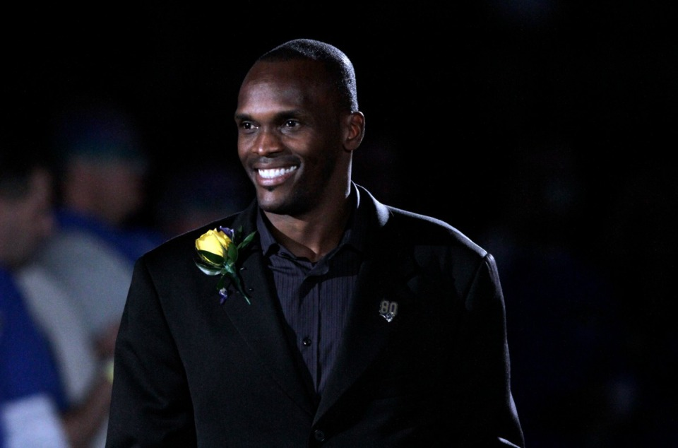 <strong>When former St. Louis Rams wide receiver Isaac Bruce (in a file photo) is inducted into the NFL Hall of Fame Saturday, he&rsquo;ll be the first Memphis athlete to be inducted into any of the NFL, NBA or Major League Baseball Halls of Fame.</strong> (Seth Perlman/AP)
