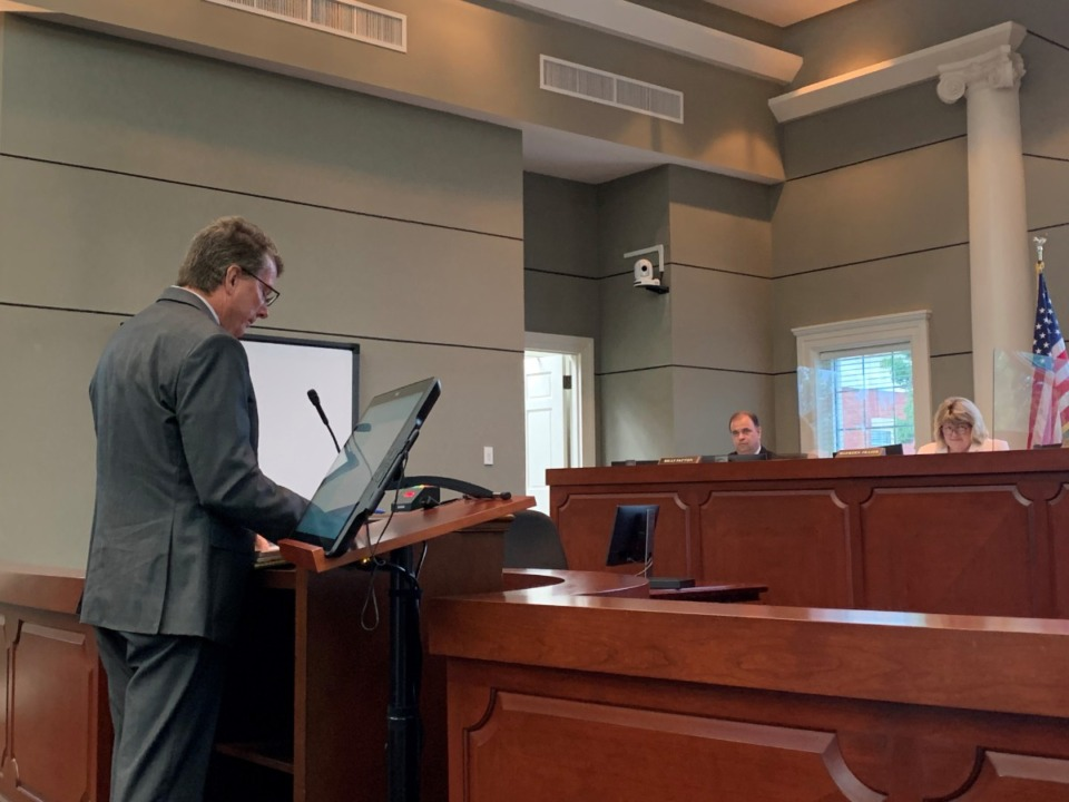 <strong>Tim Gwaltney, Collierville deputy director of engineering, gives a report to the suburb&rsquo;s Board of Mayor and Aldermen. He was previously the Director of Engineering in Germantown.</strong> (Abigail Warren/Daily Memphian)