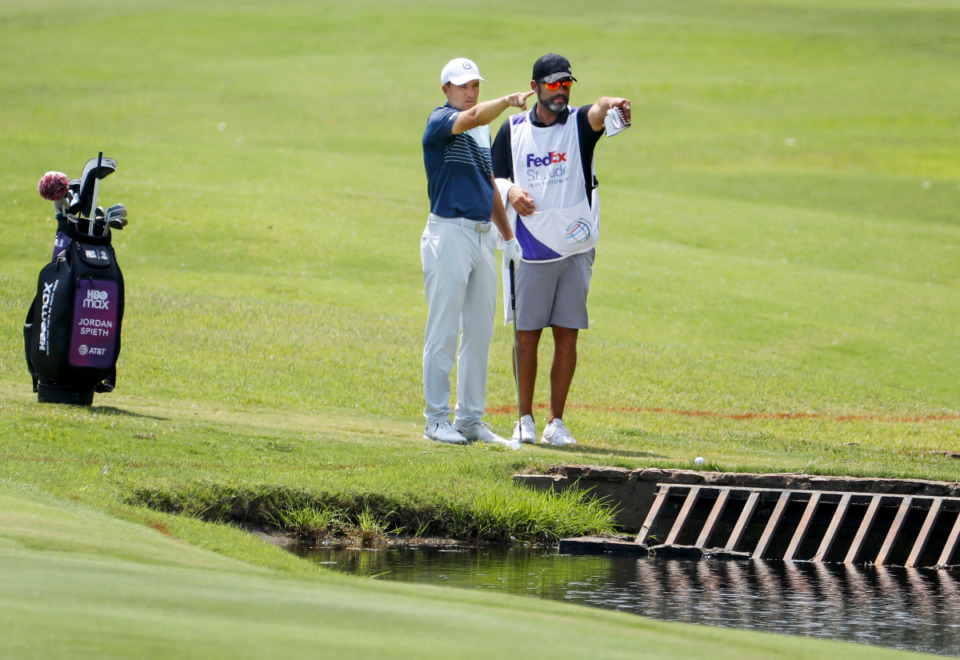 <strong>Jordan Spieth (left) shot a 63 Saturday morning at the WGC - FedEx St. Jude Invitational TPC Southwind.</strong> (Mark Weber/The Daily Memphian file)