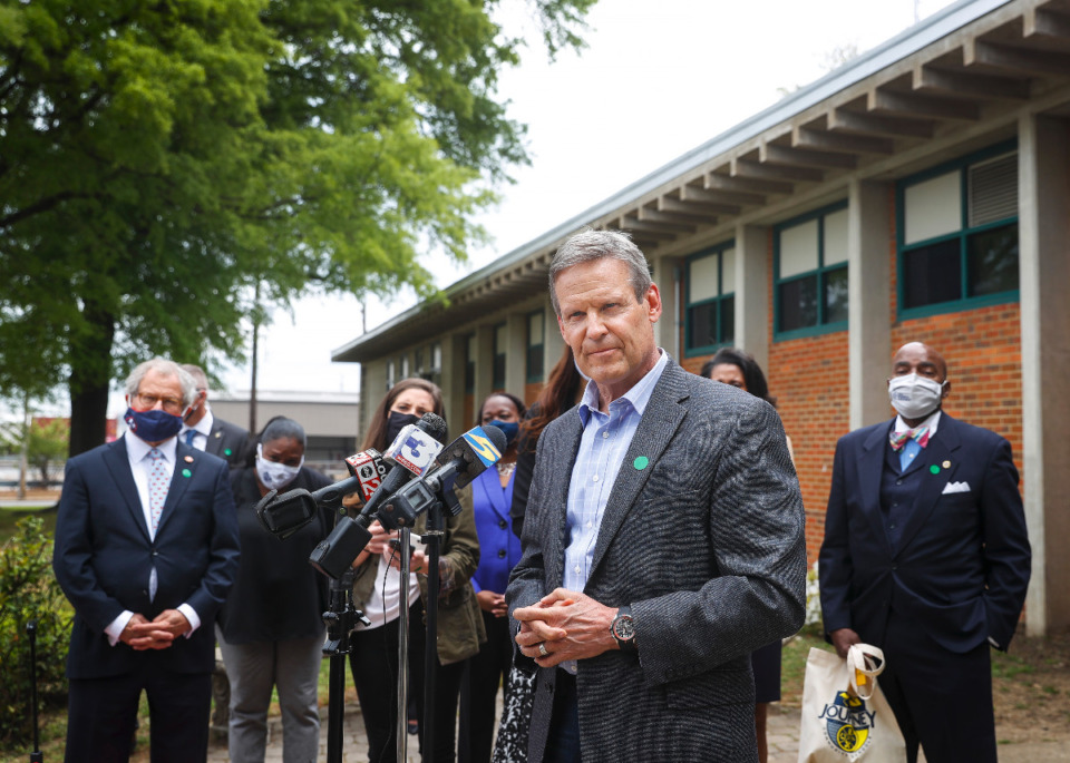 <strong>Gov. Bill Lee fields question from the media after meeting teachers and students at Hanley Elementary on Friday, April 23, 2021 in Orange Mound.</strong> (Mark Weber/The Daily Memphian)