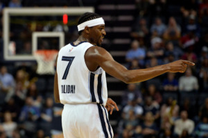 <span><strong>Memphis Grizzlies forward Justin Holiday (7) reacts in the second half of an NBA basketball game against the Minnesota Timberwolves Tuesday, Feb. 5, 2019, in Memphis, Tenn.</strong> (AP Photo/Brandon Dill)</span>
