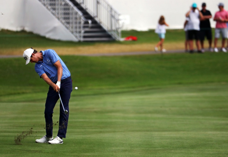 <strong>Harris English hits from the 18th fairway on the third day of the WGC FedEx-St. Jude Invitational at TPC Southwind, Aug. 7, 2021.</strong> (Patrick Lantrip/Daily Memphian)