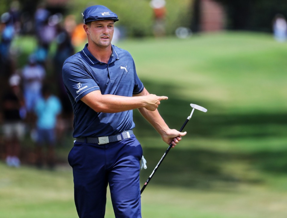 <strong>Bryson DeChambeau motions for his putt to break left on the third day of the WGC FedEx-St. Jude Invitational at TPC Southwind in Memphis, Tennessee Aug. 7, 2021</strong>. (Patrick Lantrip/Daily Memphian)