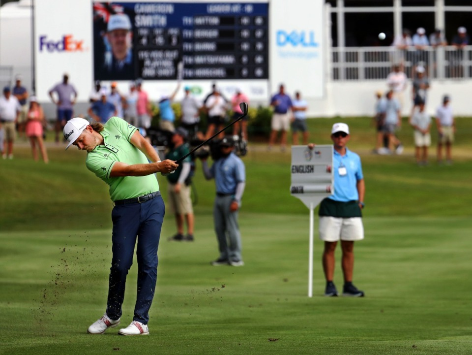 <strong>Cameron Smith hits from the 18th fairway during the third day of the WGC FedEx-St. Jude Invitational at TPC Southwind in Memphis, Tennessee Aug. 7, 2021.</strong> (Patrick Lantrip/Daily Memphian)