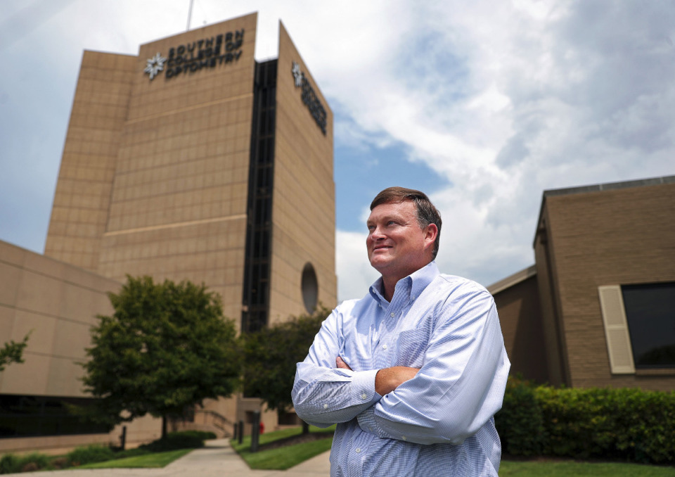 <strong>George Miller, vice president for institutional advancement at Southern College of Optometry, poses for a portrait outside his campus in the Memphis Medical District, July 23, 2021. Miller said he is seeing an increase in gifts to&nbsp; SCO in estate plans people are working on.</strong> (Patrick Lantrip/Daily Memphian)