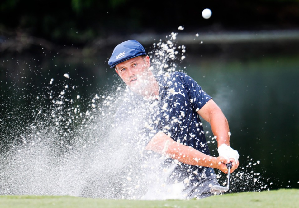 <strong>Bryson DeChambeau makes his way out of the bunker during final round action of the WGC-FedEx St. Jude Invitational on Sunday, Aug. 8, 2021 at TPC Southwind.</strong> (Mark Weber/The Daily Memphian)