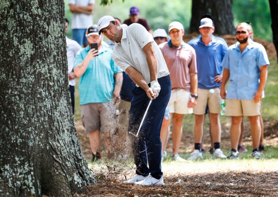 <strong>PGA golfer Scottie Scheffler hits out the trees on the ninth hole during final round action of the WGC-FedEx St. Jude Invitational on Sunday, Aug. 8, 2021 at TPC Southwind.</strong> (Mark Weber/The Daily Memphian)
