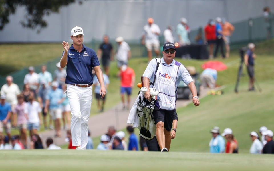 <strong>PGA golfer Harris English (left) walks up the first fairway during final round acton of the WGC-FedEx St. Jude Invitational on Sunday, Aug. 8, 2021 at TPC Southwind.</strong> (Mark Weber/The Daily Memphian)