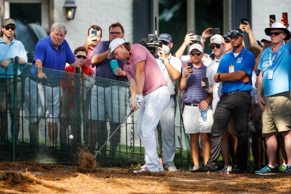 <strong>PGA golfer Cameron Smith hits out of the deep rough on the 18th hole during final round action of the WGC-FedEx St. Jude Invitational on Sunday, Aug. 8, 2021 at TPC Southwind.</strong> (Mark Weber/The Daily Memphian)