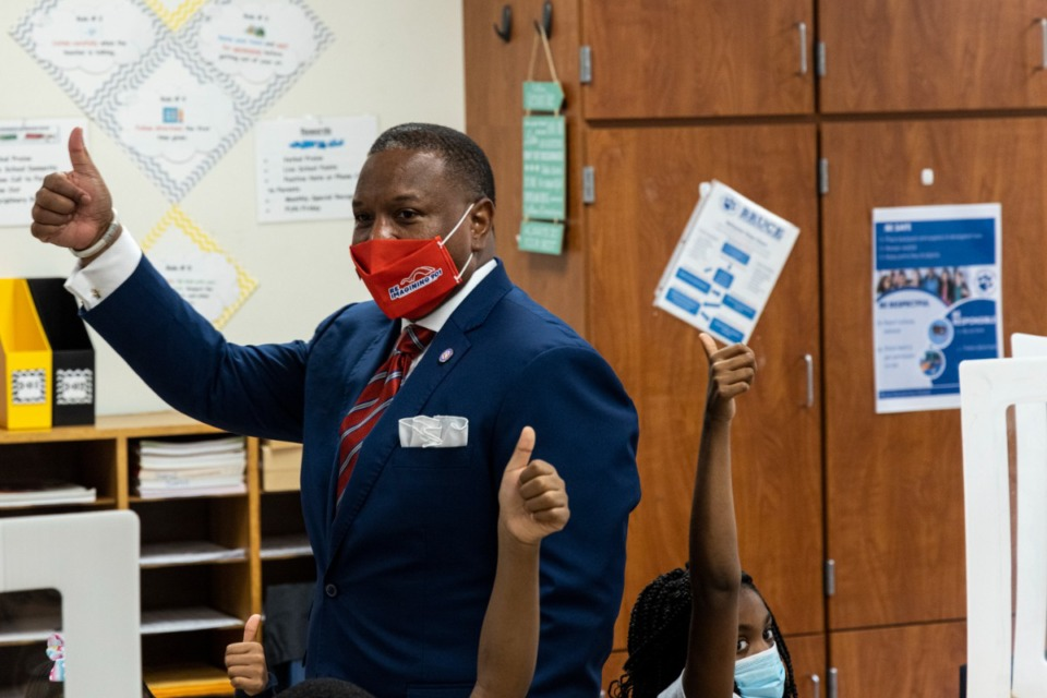 <strong>Shelby County Schools Superintendent Joris Ray visits a classroom at Bruce Elementary on Monday, Aug. 9.</strong> (Brad Vest/Special to the Daily Memphian)