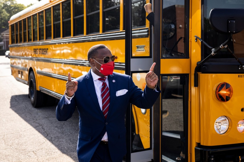 <strong>Shelby County Schools Superintendent Joris Ray arrives at Bruce Elementary during Shelby County Schools&rsquo; first day of class on Monday, Aug. 9.</strong>&nbsp;<strong>Ray and members of his leadership team pulled up to the school in a school bus with Kool and the Gang&rsquo;s &ldquo;Celebration&rdquo; as their soundtrack, just as they did in March when about a third of students returned to in-person classrooms.&nbsp;</strong> (Brad Vest/Special to the Daily Memphian)