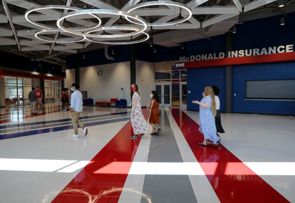 <strong>Bartlett High School students give tours of the school's new renovations on Aug. 5.</strong> (Patrick Lantrip/Daily Memphian file)