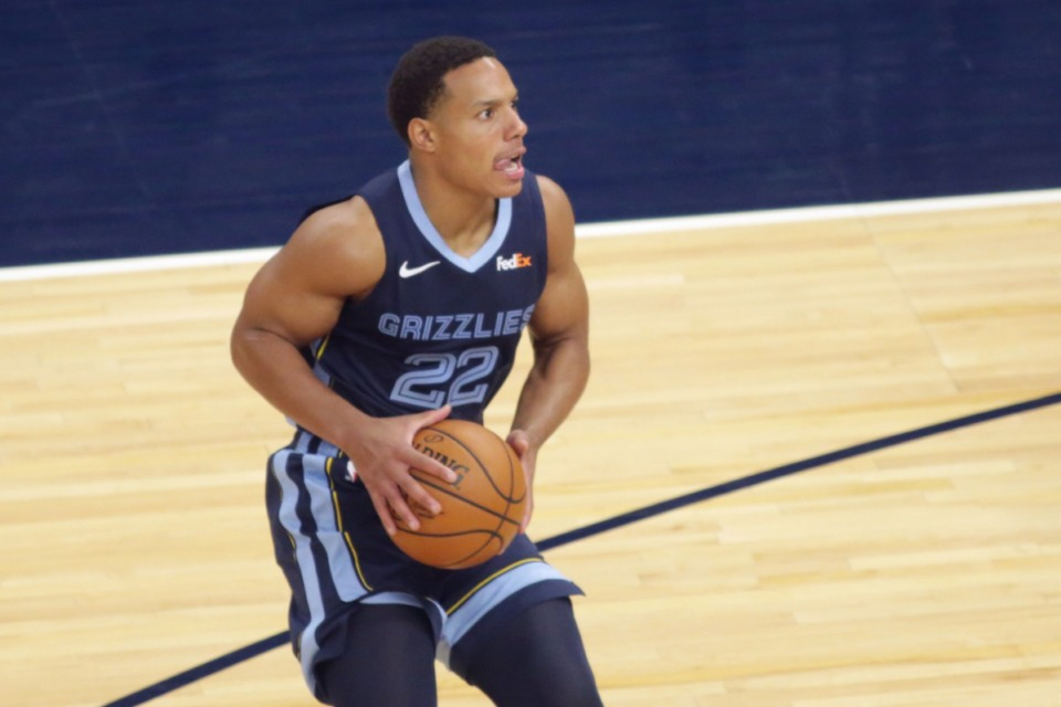 <strong>Memphis Grizzlies guard Desmond Bane passes against the Minnesota Timberwolves during an NBA preseason basketball game, Saturday, Dec. 12, 2020 in Minneapolis.</strong> (AP Photo/Andy Clayton- King)