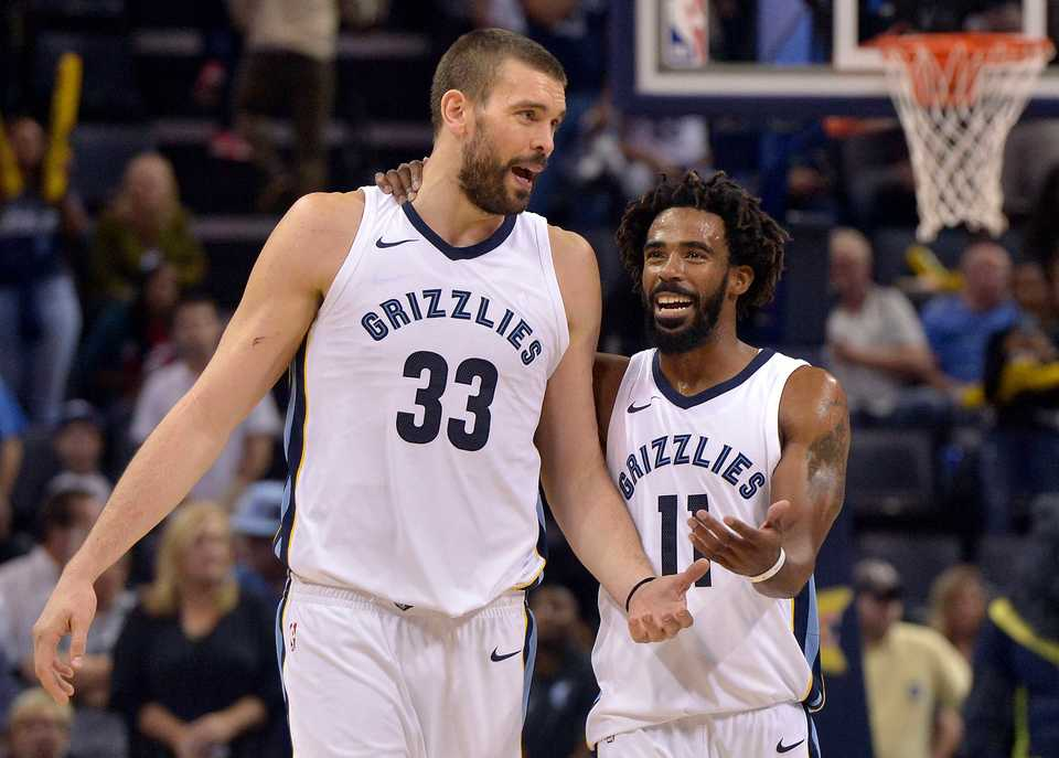 <strong>Memphis Grizzlies center Marc Gasol (33) and guard Mike Conley (11) talk between plays in the second half of an NBA basketball game against the Dallas Mavericks Thursday, Oct. 26, 2017, in Memphis, Tenn.</strong><span>&nbsp;(AP Photo/Brandon Dill)</span>