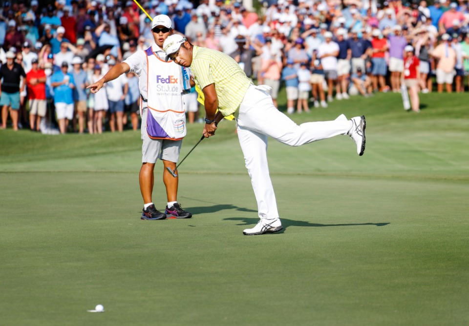 <strong>PGA golfer Hideki Matsuyama reacts after lipping out his putt on the first playoff hole during final round action of the WGC-FedEx St. Jude Invitational on Sunday, Aug. 8, 2021 at TPC Southwind.</strong> (Mark Weber/The Daily Memphian)