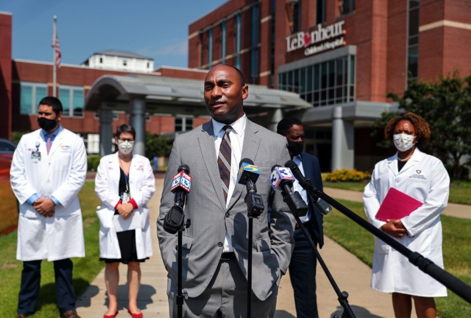 <strong>County officials, including Shelby County Mayor Lee Harris, toured Le Bonheur Children&rsquo;s Hospital on Friday, Aug. 13.&nbsp;&ldquo;One of the really, really hard truths is that this hospital, this community asset, is really under strain right now,&rdquo; Harris said at a press briefing afterward.</strong> (Patrick Lantrip/Daily Memphian)