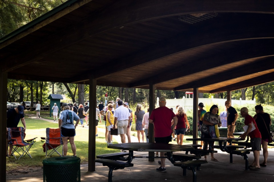 <strong>Parents and others who had gathered to discuss the mask mandate in Collierville schools left Suggs Park when members of the media arrived.</strong> (Brad Vest/Special to The Daily Memphian)