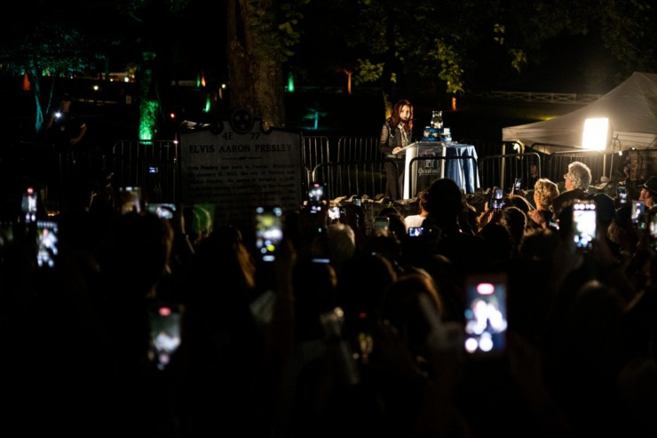<strong>Priscilla Presley speaks during the Elvis Week 2021 Candlelight Vigil on Sunday, Aug. 15, 2021 at Graceland.</strong> (Brad Vest/Special to The Daily Memphian)