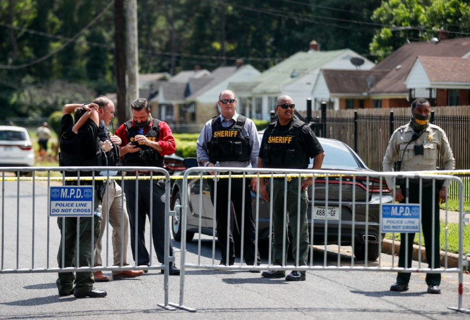 <strong>Shelby County Sheriff&rsquo;s Deputies stand near the scene of an officer-involved shooting on Monday, August 16, 2021 on Robin Park Circle</strong>. (Mark Weber/The Daily Memphian)