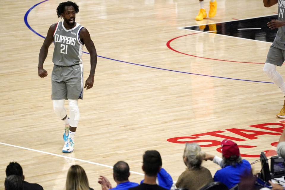 <strong>Then-Los Angeles Clippers guard Patrick Beverley talks to fans during the second half in Game 4 of the NBA basketball Western Conference Finals against the Phoenix Suns Saturday, June 26, 2021,</strong> in Los Angeles. (AP Photo/Mark J. Terrill)