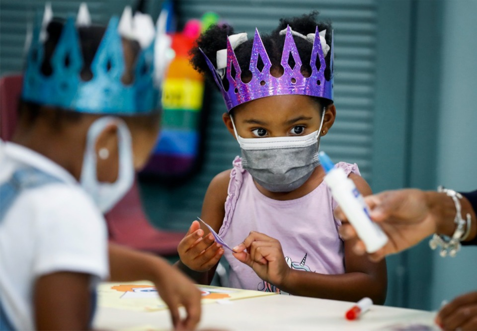 <strong>I-Rise Christian Academy pupil  Ryleigh Stevenson, 3, works   connected  an arts and trade  task  connected  Friday, July 30, 2021.</strong> (Mark Weber/The Daily Memphian)