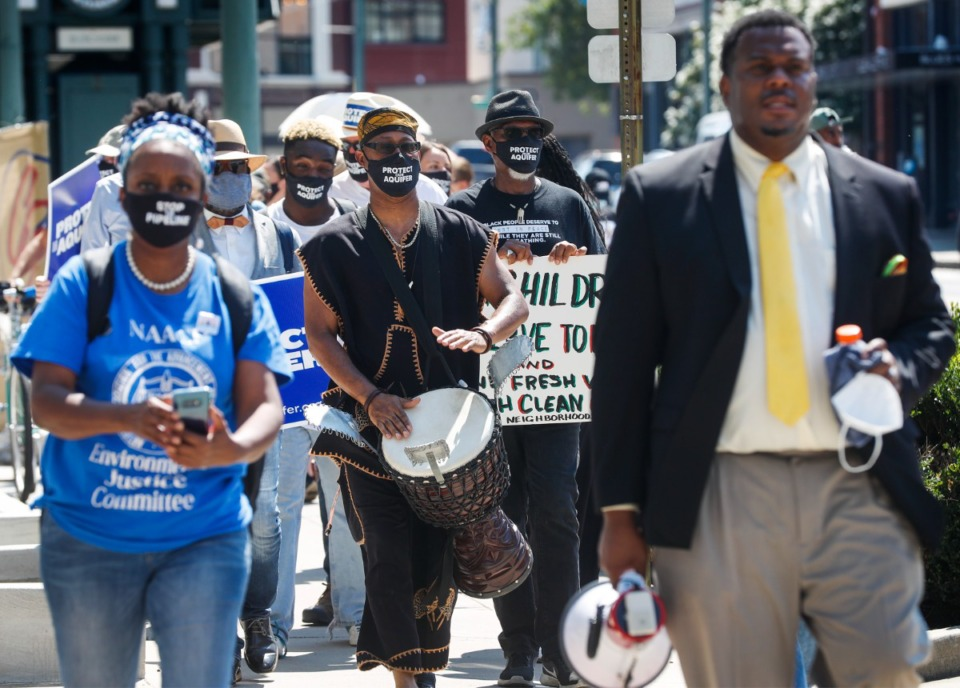 <strong>Demonstrators walk along South Main toward City Hall during an MCAP march and rally on Tuesday, Aug. 17, 2021.</strong> (Mark Weber/The Daily Memphian)