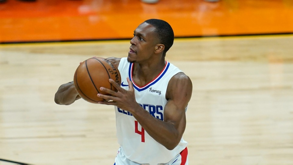 <strong>Will former Los Angeles Clippers guard Rajon Rondo (shooting against the Phoenix Suns, June 20, 2021) wear a Grizzlies uniform this season?</strong> (Ross D. Franklin/AP file)