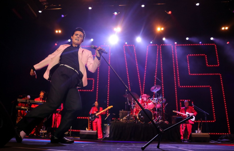<strong>Riley Jenkins performs in the 2021 Ultimate Elvis Tribute Artist Contest at Graceland Aug. 12, 2021.</strong> (Patrick Lantrip/Daily Memphian)