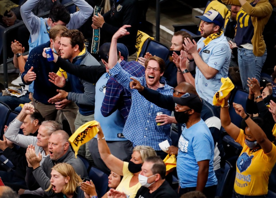 <strong>Memphis Grizzlies fans celebrate during action against the Utah Jazz in game three of the NBA Playoffs on Saturday, May 29, 2021.</strong> (Mark Weber/The Daily Memphian)