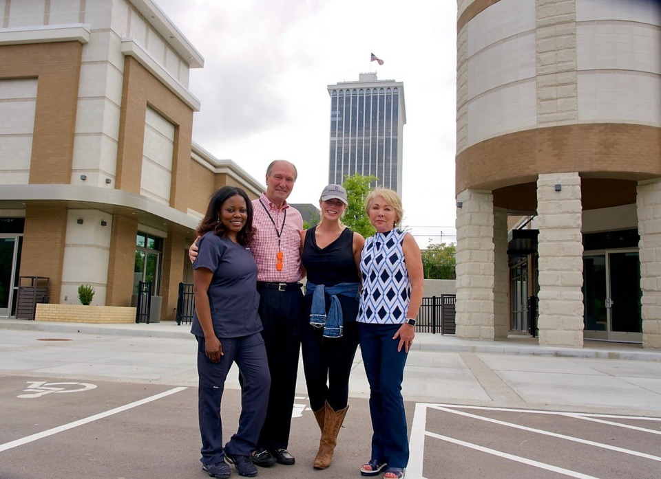 <strong>Dr. Lanetta Anderson (from left), whose Women&rsquo;s Physician Group will occupy all of one of White Oak&rsquo;s two buildings; Gill Properties president Ray Gill; Dallas Embry, franchise owner of The Lash Lounge; and Patty Bullock, senior vice president at Gill Properties. </strong>(Tom Bailey/Daily Memphian)