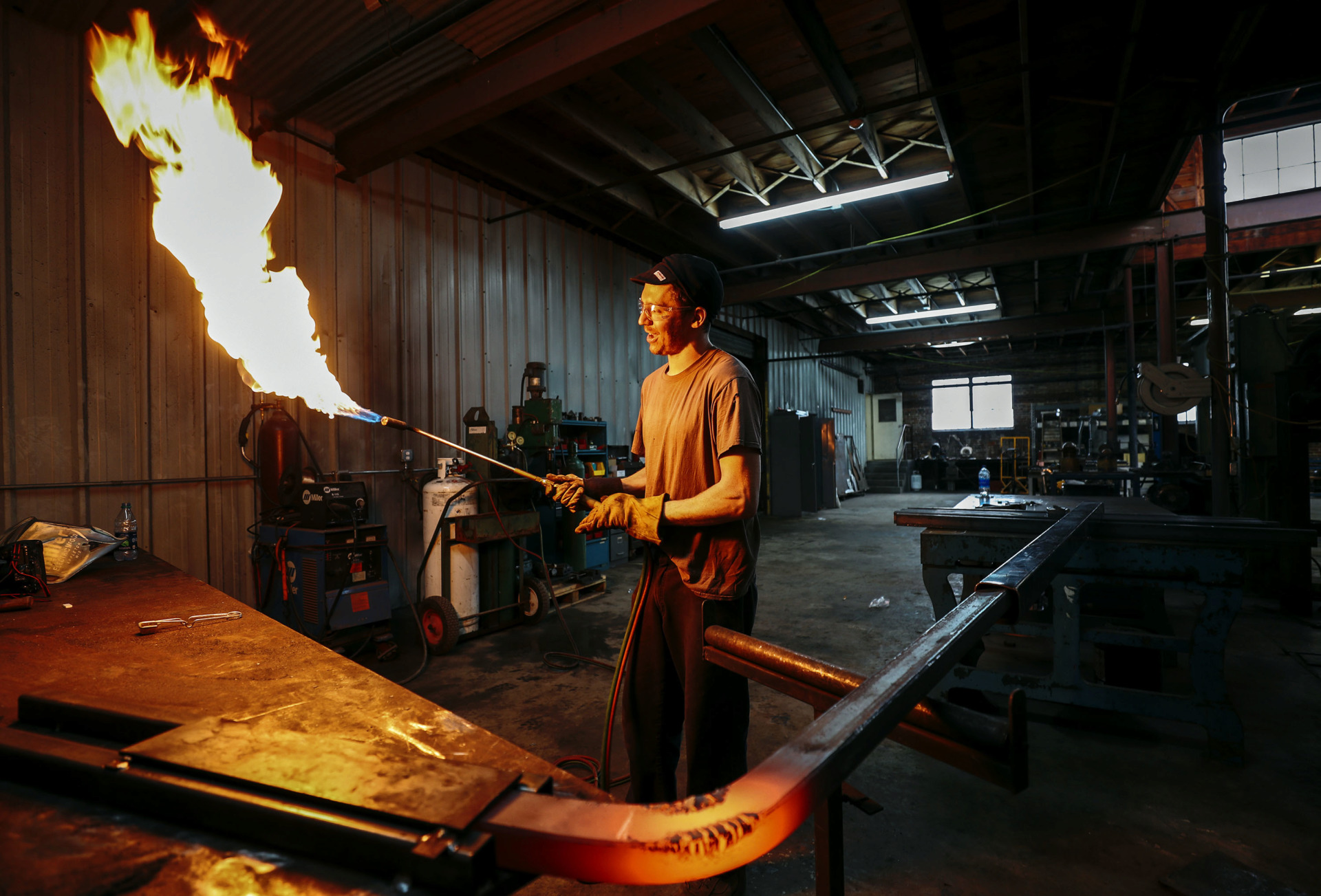 <strong>Lewis Body, a former blacksmith apprentice for the museum, opened his own shop near Presidents Island last year. Body's work ranges from large-scale public sculpture to custom architectural design work for both local and out-of-state clients.</strong> (Houston Cofield/Daily Memphian)