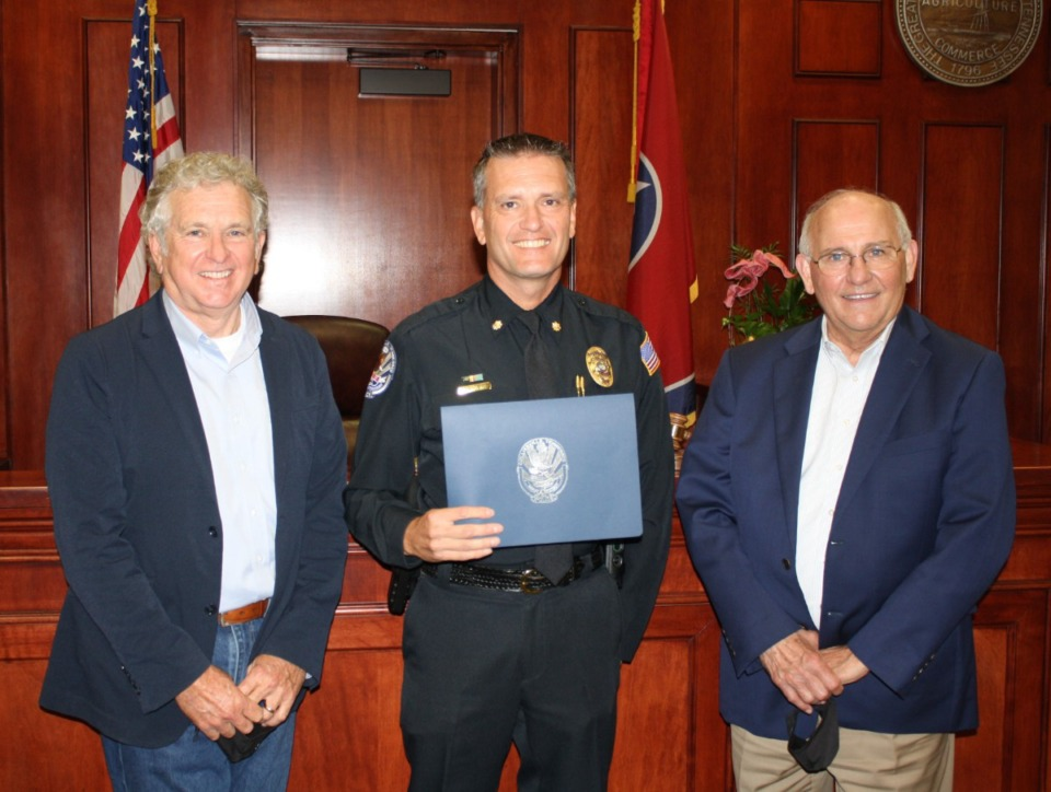 <strong>Collierville Town Administrator James Lewellen (from left), Major David Townsend, and Mayor Stan Joyner. </strong>(Courtesy of&nbsp;&nbsp;Town of Collierville)