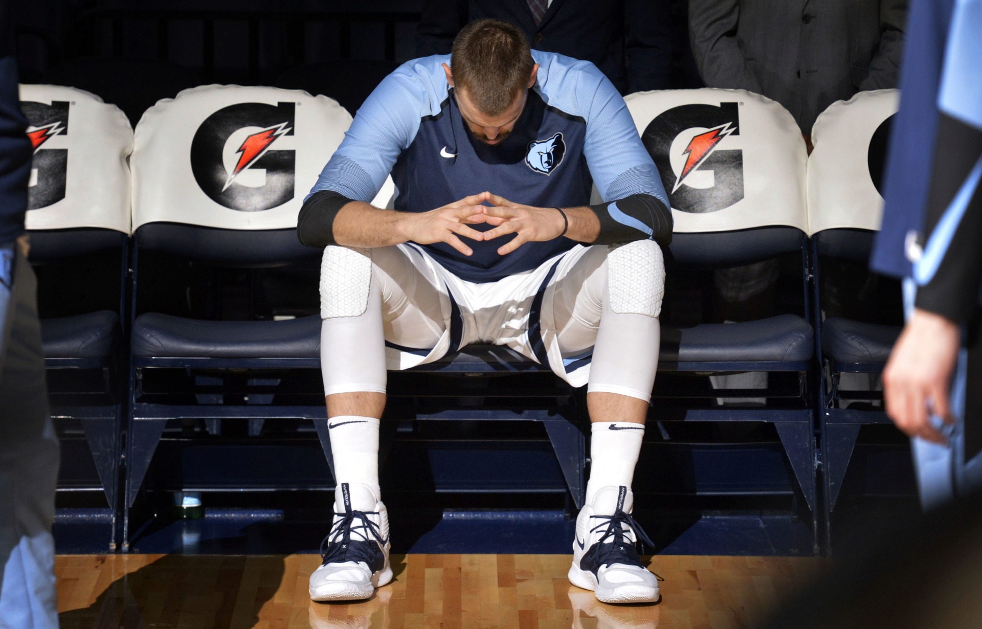 <strong>Memphis Grizzlies center Marc Gasol waits for his name to be called during player introductions before 2018 preseason game in October against the Atlanta Hawks in Memphis.</strong> (AP Photo/Brandon Dill)