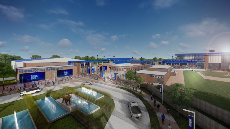<strong>This rendering shows the proposed&nbsp;&ldquo;Football Circle Drive.&rdquo;</strong> (Submitted by University of Memphis)