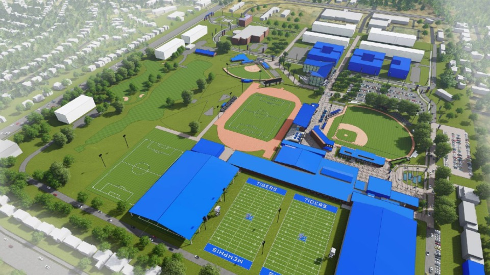 <strong>A rendering shows an overview of the proposed University of Memphis Tiger Park.&nbsp;It&rsquo;s part of &ldquo;Vision 20/20s,&rdquo; which the University says supports&nbsp;&ldquo;a rising Athletics Department that supports and graduates our student-athletes while delivering championship-level experiences resulting in national prominence.&rdquo; </strong>(Courtesy University of Memphis)