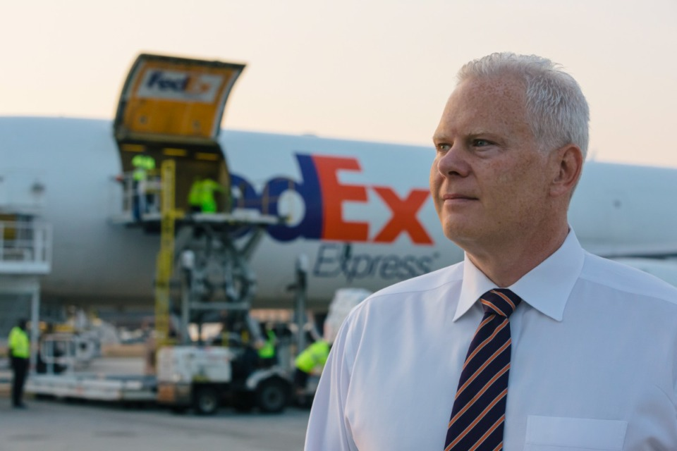 <strong>Regional President of the Americas &amp; Executive Vice President Richard Smith supervises as FedEx loads relief supplies on an air freight jet for Haiti on Aug. 26, 2021.</strong> (Ziggy Mack/Daily Memphian)