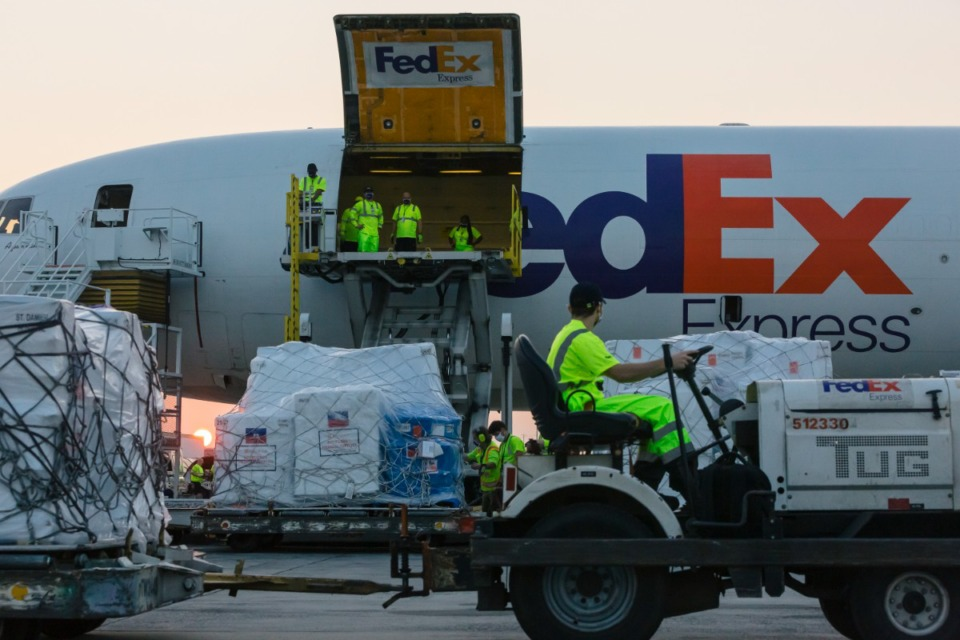 <strong>FedEx supplies relief on air freight jet for Haiti on Aug. 26, 2021.</strong> (Ziggy Mack/Daily Memphian)