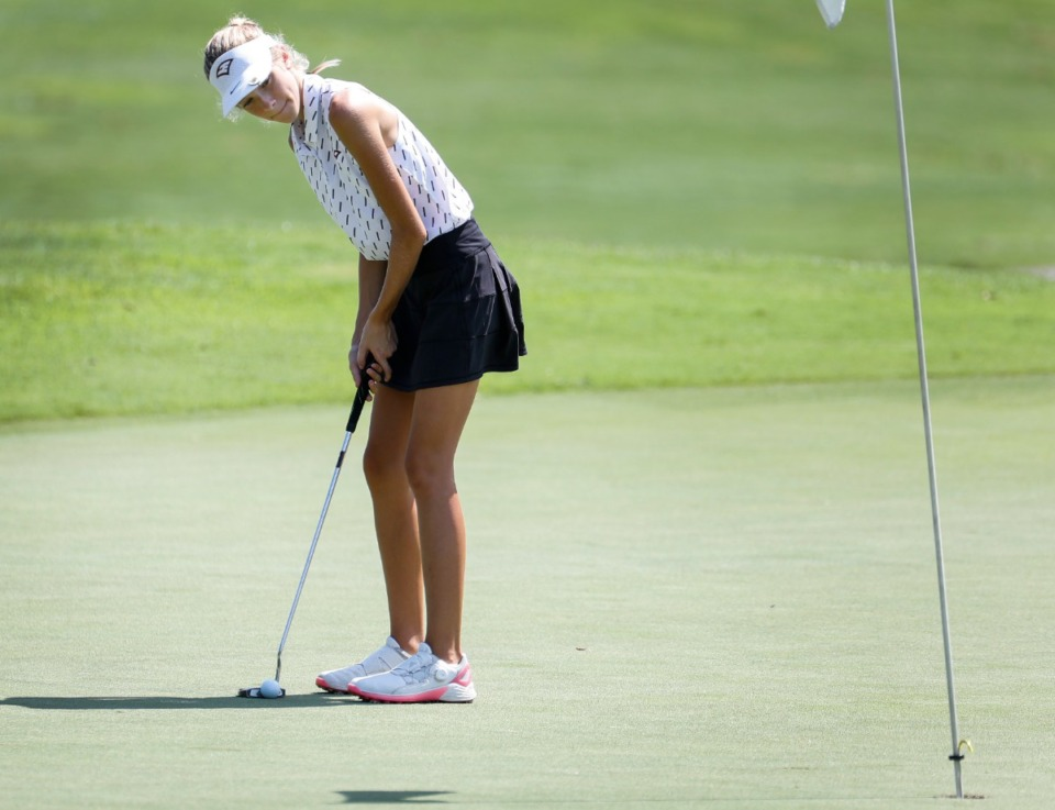 <strong>ECS golfer Claire Todd lines up her putt during the FCA Golf Tournament on Monday, Aug. 23, 2021 at Windyke Country Club.</strong> (Mark Weber/The Daily Memphian)